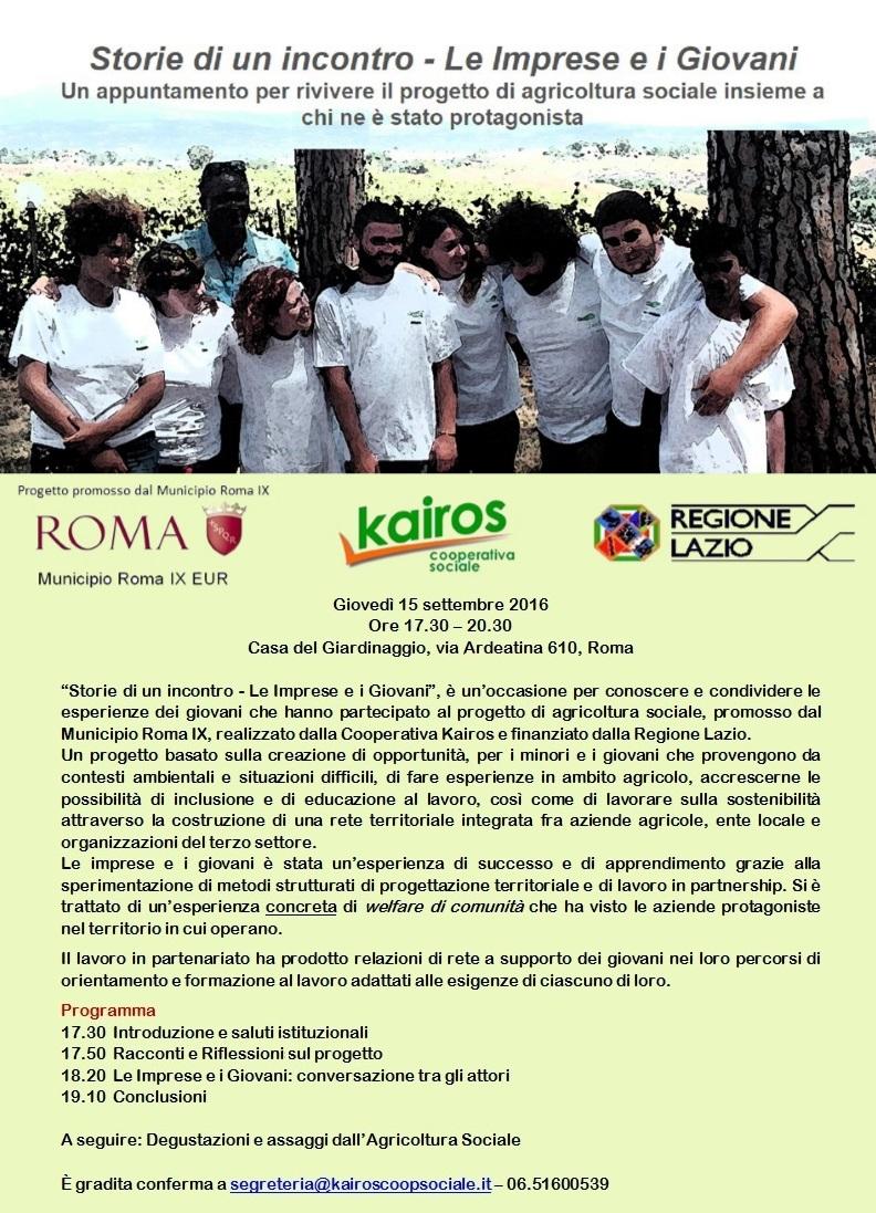 Invito e programma di Storie di un incontro - serata sul progetto di agricoltura sociale