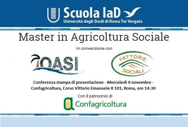 Master in Agricoltura Sociale della Scuola IaD dell'Università di Tor Vergata, in collaborazione con Associazione Oasi e Rete Fattorie Sociali - La conferenza stampa del 9 novembre