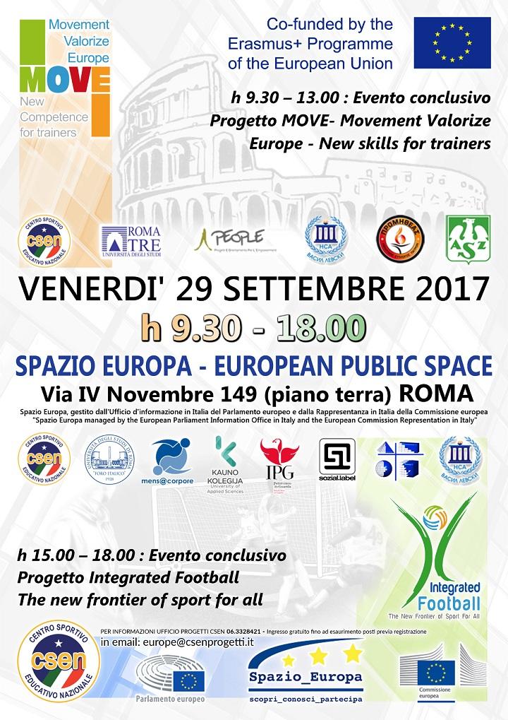 Locandina CSEN MOVE Spazio Europa del 29 settembre